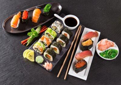 Vinilo Conjunto de sushi japonés marisco