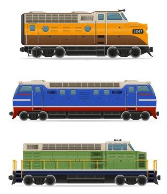 Vinilo Conjunto iconos ferrocarril locomotora tren ilustración vectorial