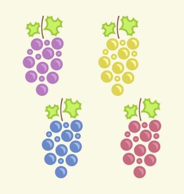 Vinilo Conjunto Racimos coloridos de la uva