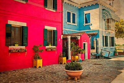 Vinilo Construcción de viviendas colorida en Burano, Italia 1