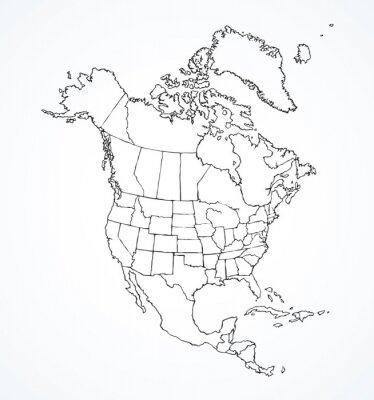 Vinilo Continente norteamericano con contornos de países. Dibujo vectorial