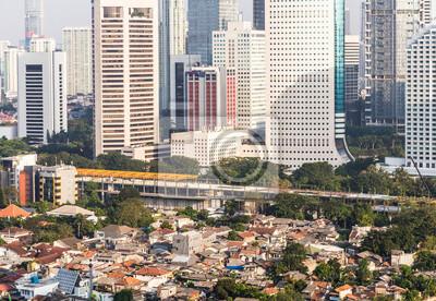Vinilo Contraste de la ciudad en Yakarta, capital de Indonesia.