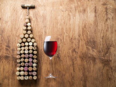 Vinilo Corchos de vino en forma de botella de vino.