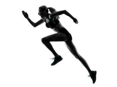 Vinilo Corredor de la mujer de jogging basculador Silueta corriente