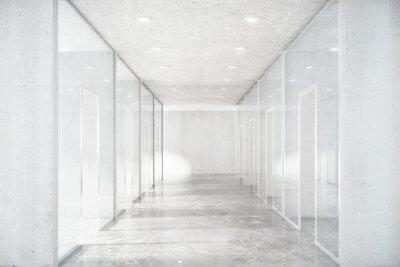 Vinilo Corredor largo con piso de cemento y paredes transparentes en moder