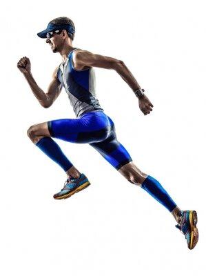 Vinilo corredores hombre ironman triathlon atleta corriendo