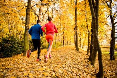 Vinilo Correr pareja en la naturaleza del otoño