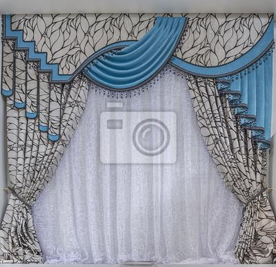 Cortinas de color turquesa con lambrequines calcoman as - Pegatinas para cortinas ...