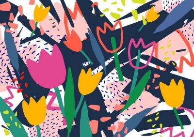 Vinilo Creativo telón de fondo horizontal con flores de tulipán y manchas abstractas de colores y garabatos. Fondo decorativo de color brillante. Ejemplo artístico de moda del vector en estilo del arte conte