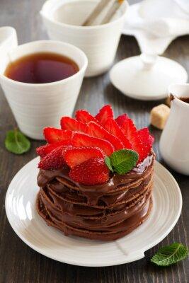 Vinilo Crepes de chocolate con crema de chocolate y fresas.