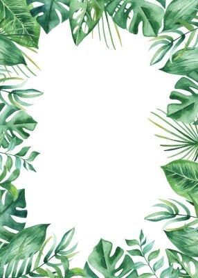 Vinilo Cuadro acuarela con hojas y flores tropicales, manchas de acuarela. Patrón poligonal dorado, redondo, para tarjetas, invitaciones, bodas y diseños de verano.