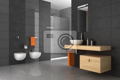 Cuarto de baño alicatado con muebles de madera vinilos para ...