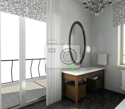 Vinilo: Cuarto de baño. diseño moderno de interior