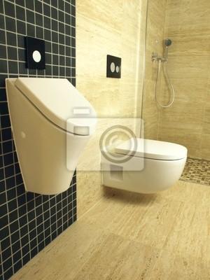 Cuarto de baño moderno con azulejos de mármol travertino y mosaico ...