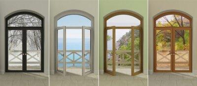 Vinilo Cuatro ventanas en diferentes épocas del año. Cuatro ventanas multicolores con acceso a las diferentes estaciones.
