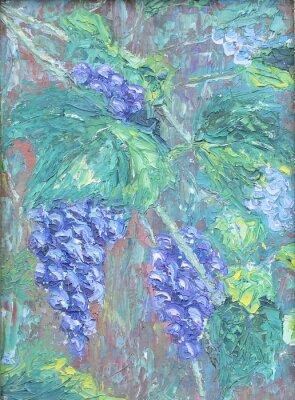Vinilo Cultivo de uvas, pintura al óleo