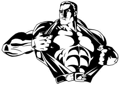 Vinilo culturista musculoso rasga la camisa