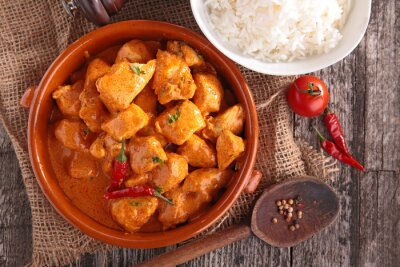 Vinilo curry chicken with sauce and rice