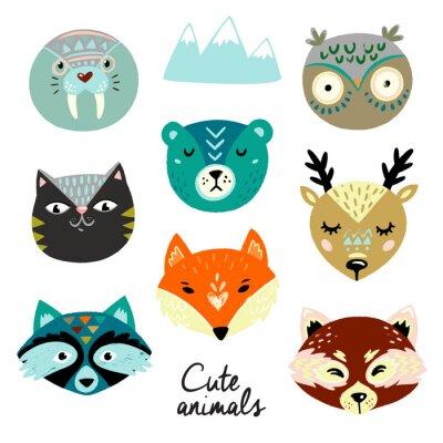 Vinilo Cute animals faces. Hand drawn baby design