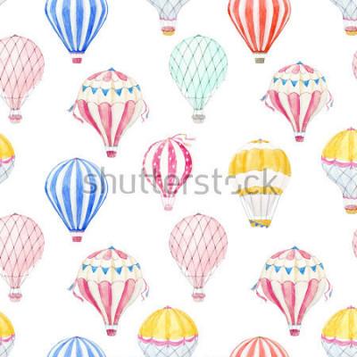 Vinilo Cute balloon watercolor pattern.  aerostat