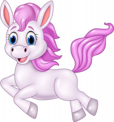 Vinilo Cute caballo caballo corriendo aislado sobre fondo blanco