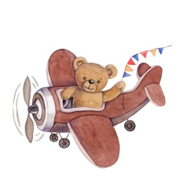 Vinilo Cute cartoon toy animal teddy bear in plane, watercolor illustration, hand draw, isolated on white.