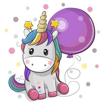 Vinilo Cute dibujos animados unicornio con globo