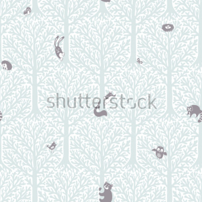 Vinilo Cute forest with animals and birds. Great decor and wallpaper for baby, kids and nursery room in Scandinavian style. Vector seamless pattern. Cute Nordic background with forest animals in the woods