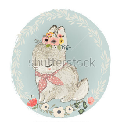 Vinilo Cute Hare with Floral Wreath