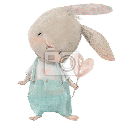 Vinilo cute hare with heart in hand