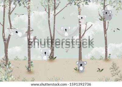 Vinilo Cute koalas playing in the jungle