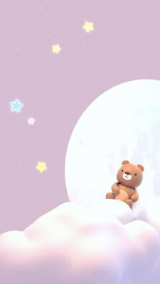 Vinilo Cute little bear watching beautiful night sky with stars in front of the white full moon. 3d rendering picture. (Vertical)
