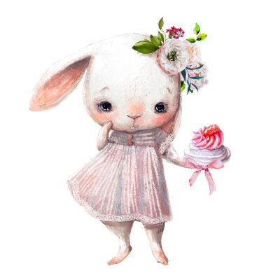 Vinilo cute little bunny girl with cake