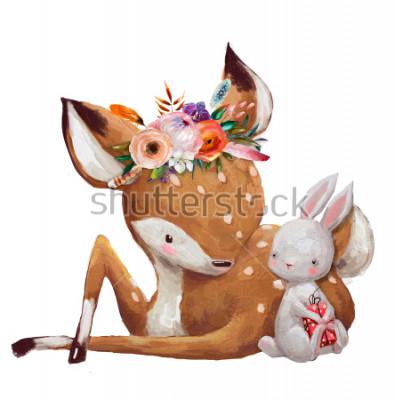 Vinilo cute little hare with little deer