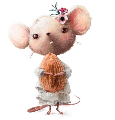Vinilo cute little mouse girl with almond