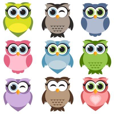 Vinilo Cute owls set
