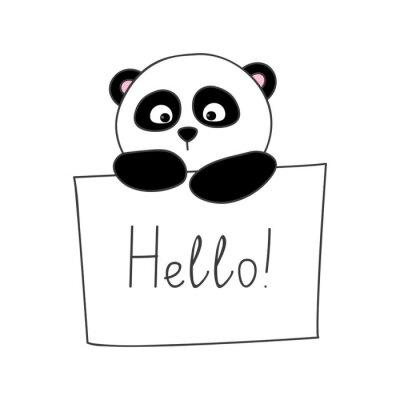 Vinilo Cute panda de dibujos animados aislado en blanco