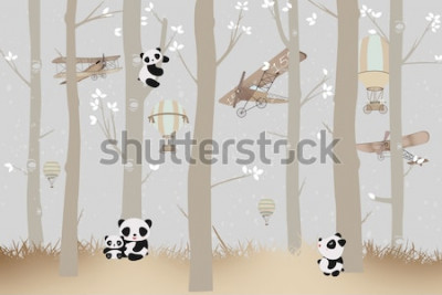 Vinilo cute pandas playing in the forest wallpaper