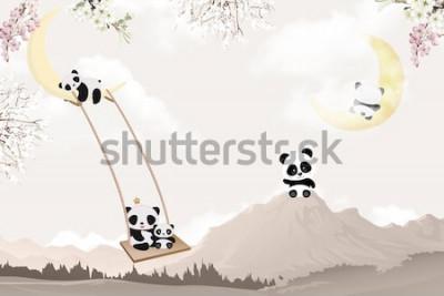 Vinilo cute pandas playing kids room wallpaper design
