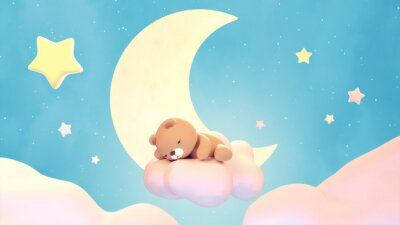 Vinilo Cute sleeping bear on lake green color background. Beautiful pastel pink clouds, yellow crescent moon, and stars. 3d rendering picture.