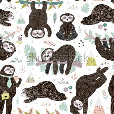 Vinilo Cute sleeping sloths seamless pattern. Adorable animal background. Vector illustration