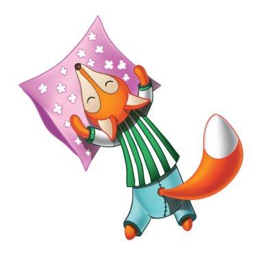 Vinilo Cute zorro de dibujos animados en pijama duerme