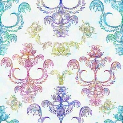 Vinilo Damasco patrón floral transparente. Papel pintado real. Flores en un fondo de la rosa. EPS 10
