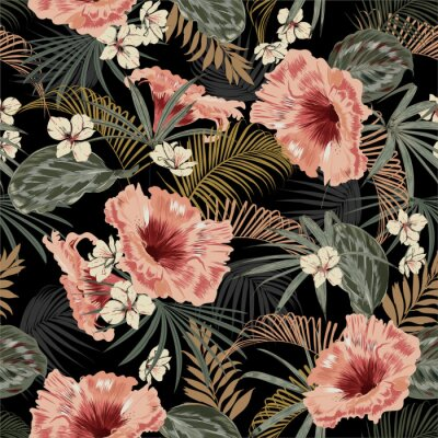 Vinilo Dark tropical forest at night seamless pattern wallpaper vintage mood leaves of palm trees and exotic of flowers design for fashion,fabric,web,wallpeper,and all prints