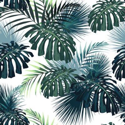 Vinilo Dark tropical leaves with jungle plants. Seamless tropical pattern with green palm and monstera leaves. White background.