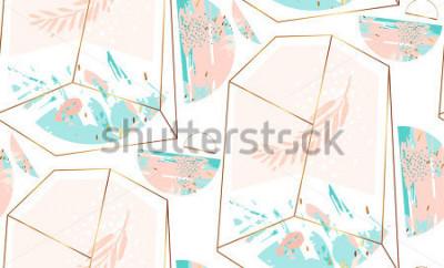 Vinilo Dé a vector exhausto el modelo inconsútil geométrico artístico abstracto con el terrario cristalino y el brunch en colores azules del oro, en colores pastel y tiffany aislados en el fondo blanco. Fond