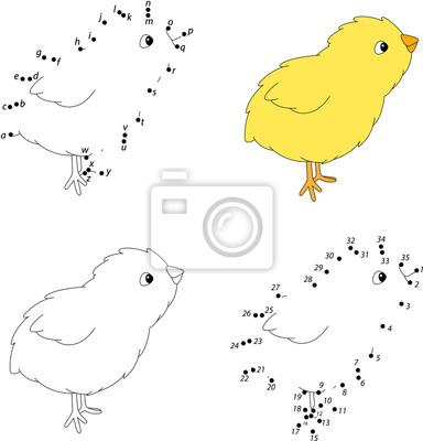 De dibujos animados de pollo amarillo. libro para colorear y vinilos ...