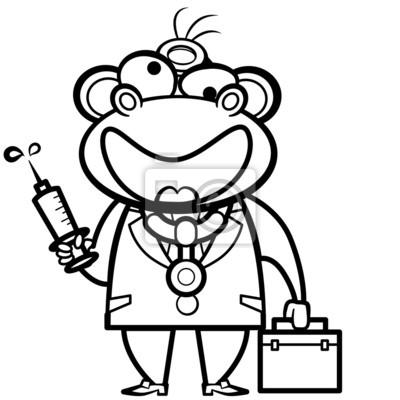 De dibujos animados para colorear médico mono con botiquín de ...