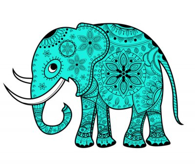 Vinilo Decorado elefante vector, elefante vettoriale decorato
