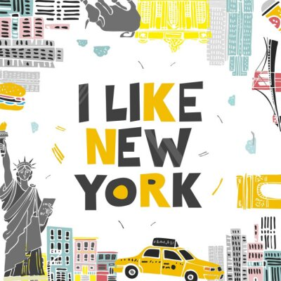 Vinilo Decorative banner with symbols and attractions and the words I love New York. Postcard for tourists, travel guides, invitations. Poster for wall decoration in the room, classroom. Vector illustration.